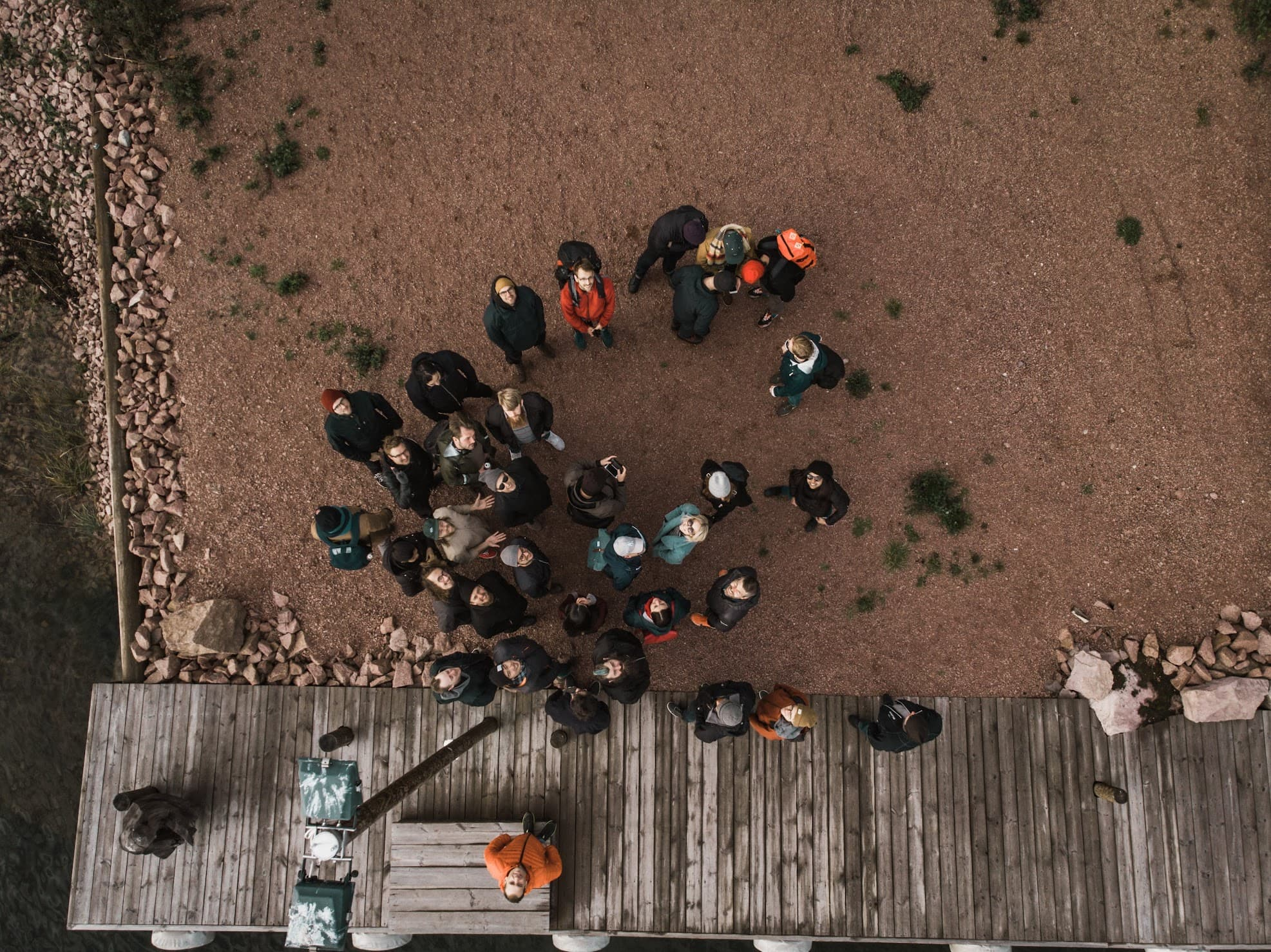 A drone shot of the people at Umain