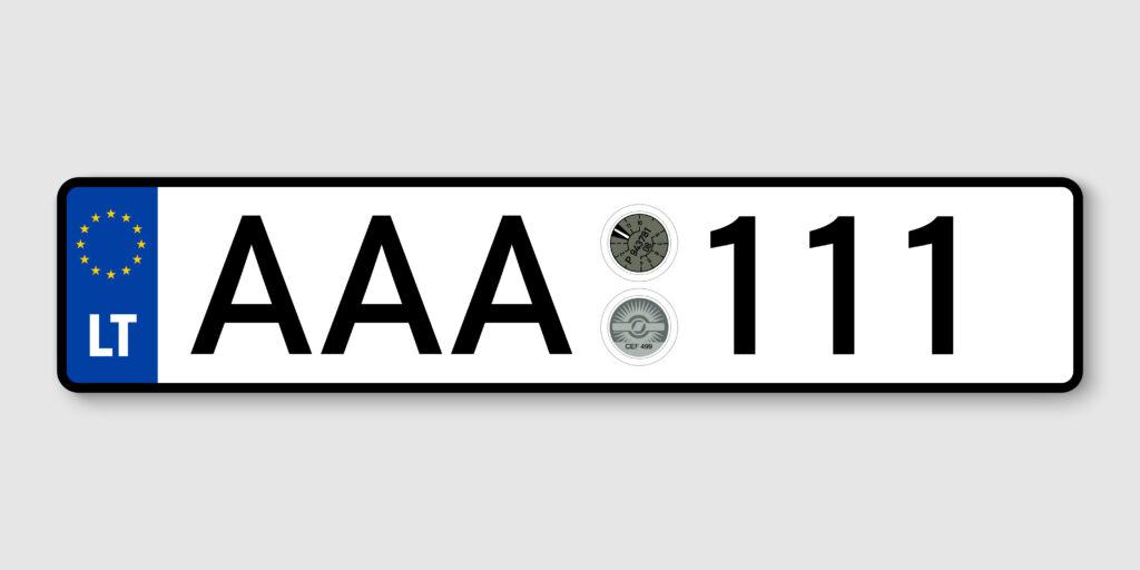 Lietuviško automobilio numerio pavyzdys