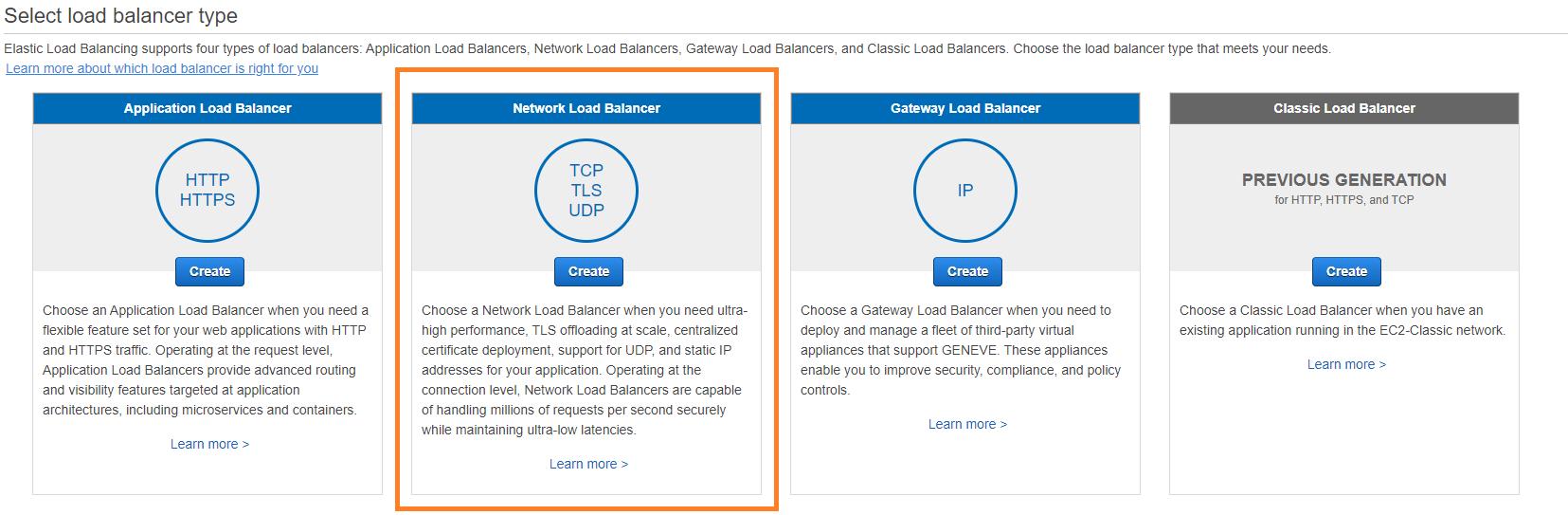 Creating a Network Load Balancer.
