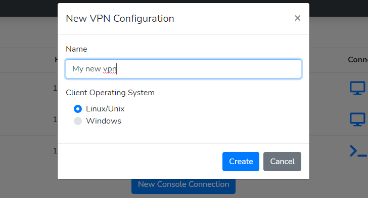 Creating a new VPN configuration file