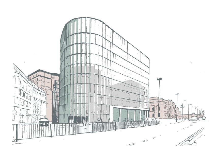Illustration of commercial buildings