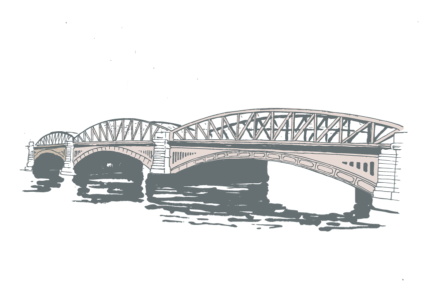 Illustration of a bridge over water