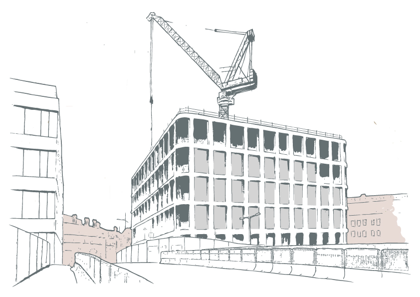 Illustration of a construction of a building