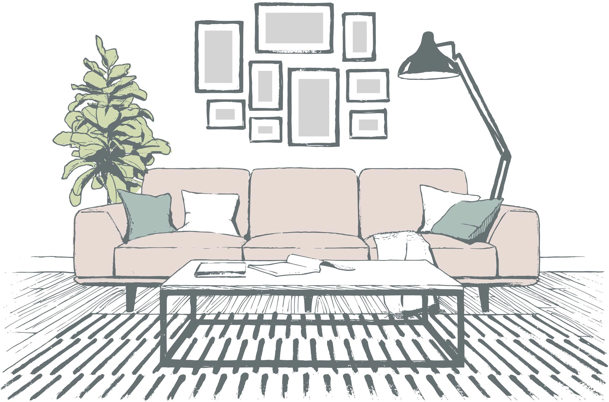 Illustration of a sofa surrounded by home items