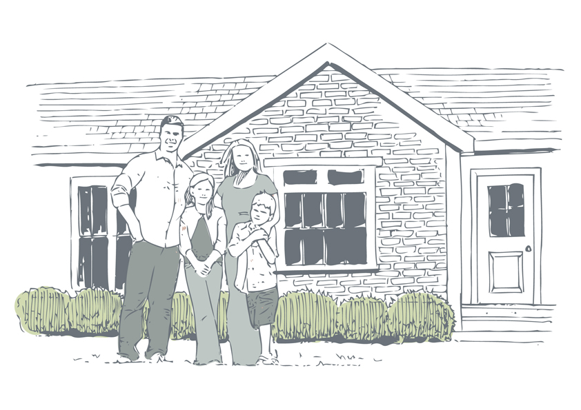 Illustration of a family standing outside their house