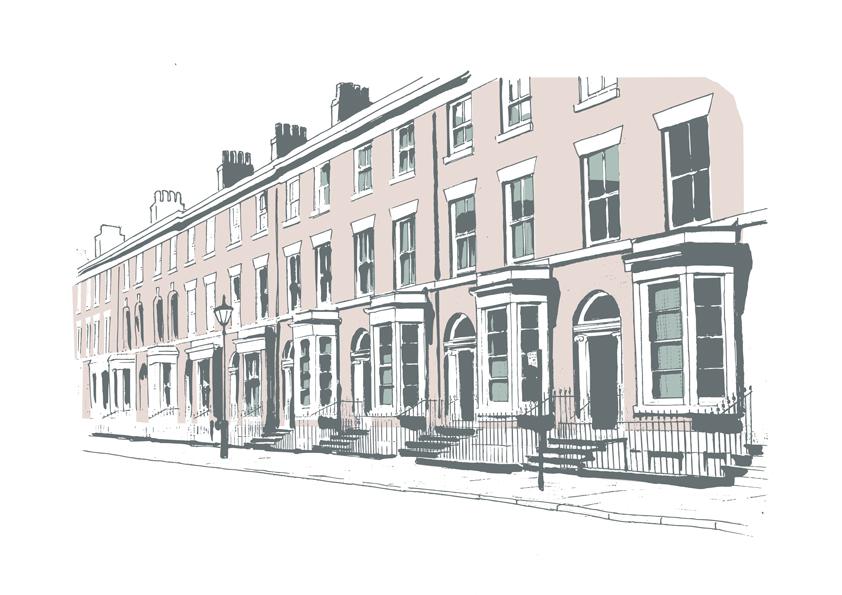 Illustration of terrace houses