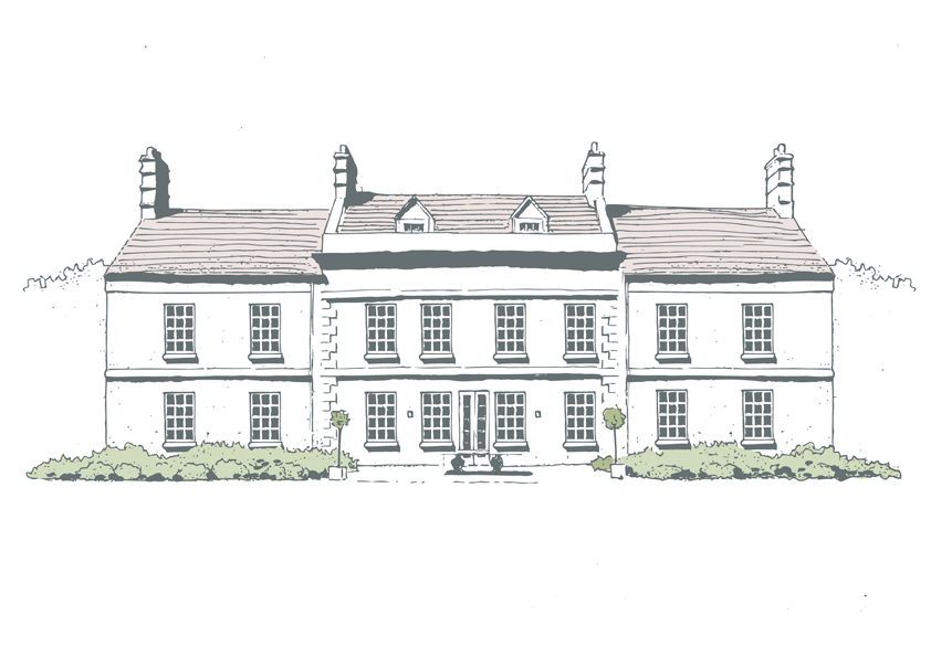 Illustration of a modern manor house