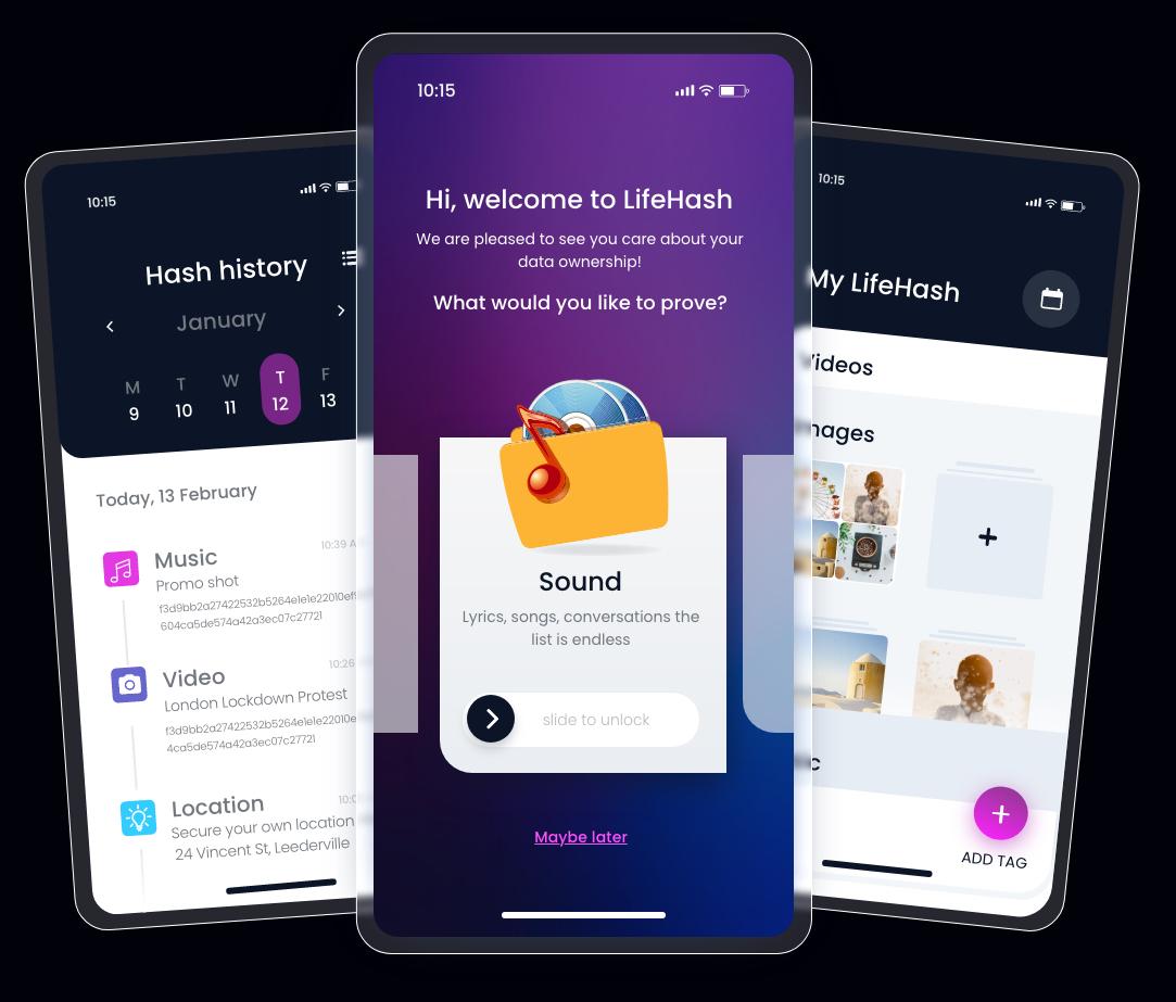 LifeHas Mobile app screens