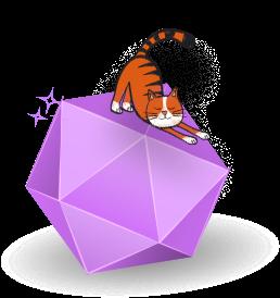 A cat sitting on top of a purple  diamond
