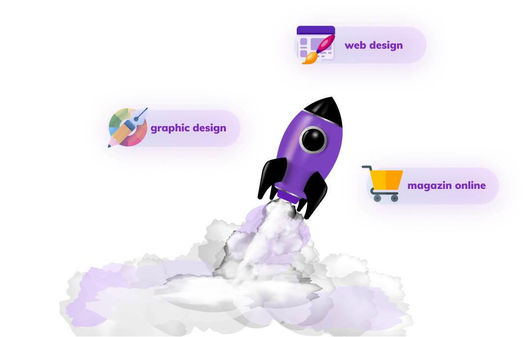 An image representing a rocket launching with three services near it: graphic design, web design, magazin online