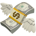 An icon representing flying money