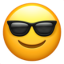 An icon representing a glass wearing emoji