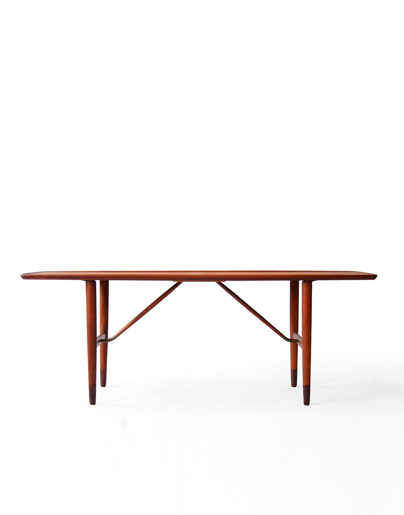 Danish Mid Century Modern Teak and Brass Coffee Table