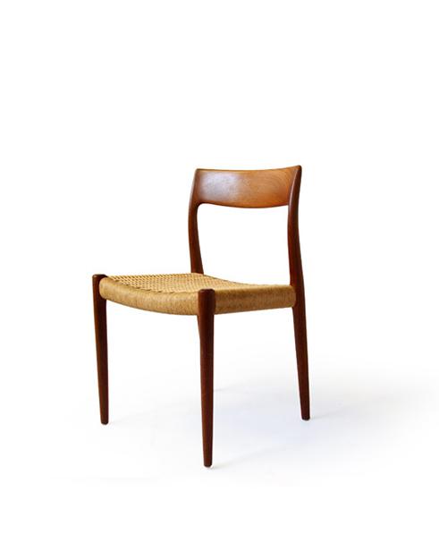 #77 J.L. Møller Teak / Rope Dining Chairs (6)