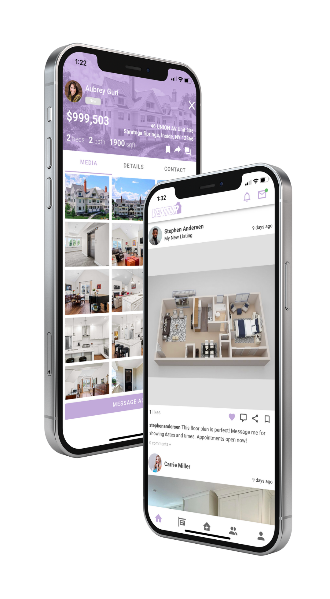 Two iPhone mockups depicting home and listing views.