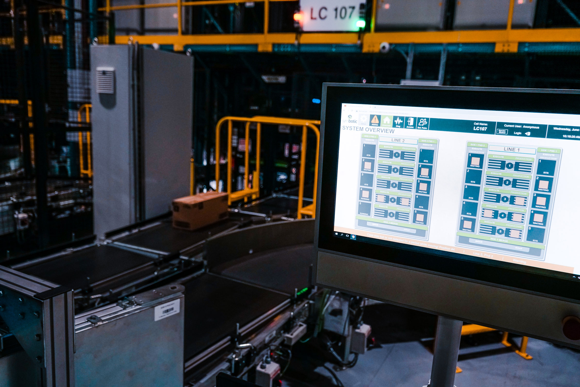 A view of the computer who's software controls the warehouse  and supply chain automation.