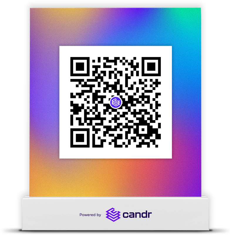 Candr QR code in a stand.