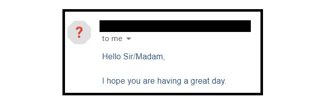 Spam email from purchased list example.