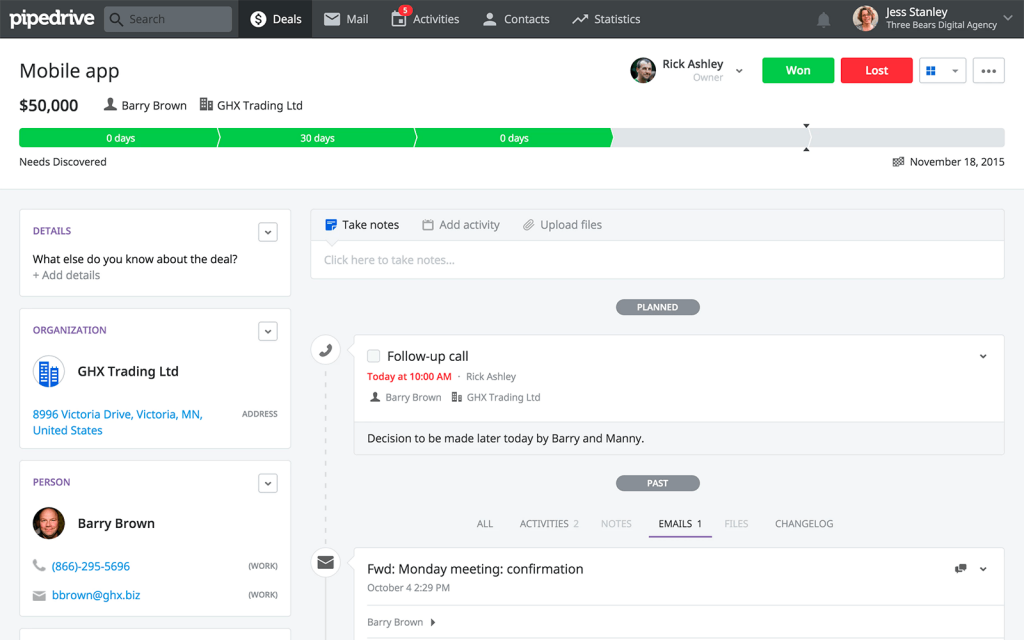 pipedrive sales management software