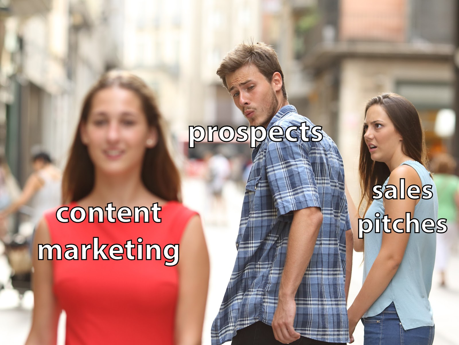 A meme wherein prospects favor content marketing over sales pitches.