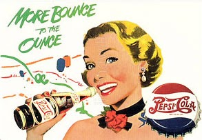 """""""More bounce to the ounce"""" dated Pepsi advertisement."""