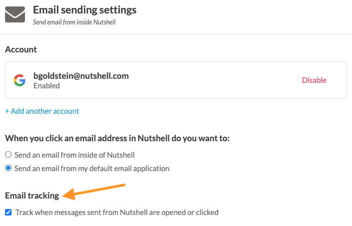 how to set an email tracking pixel in nutshell crm