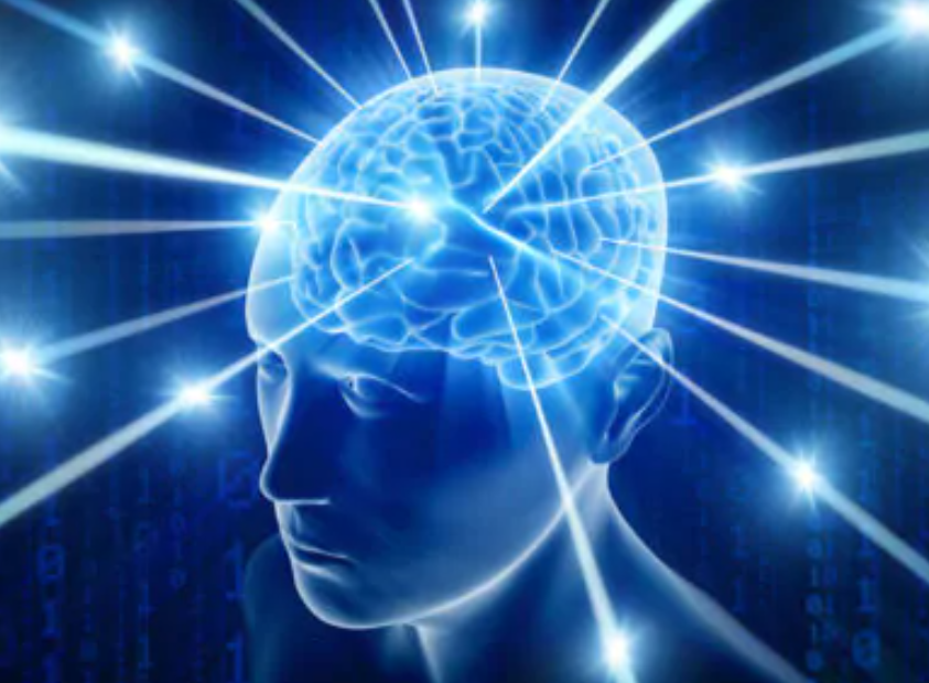 """The """"galaxy brain"""" meme: A bluish stylistic 3D image of a head, and the brain is luminous with stars emerging."""