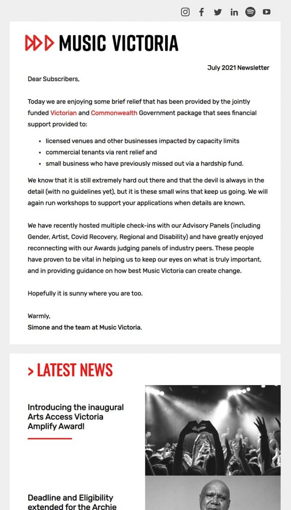 Thumbnail image of the Music Victoria Newsletter, July 2021