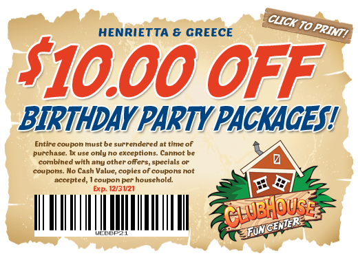 $10 off birthday party package