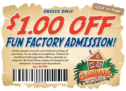 $1 off fun factory admission