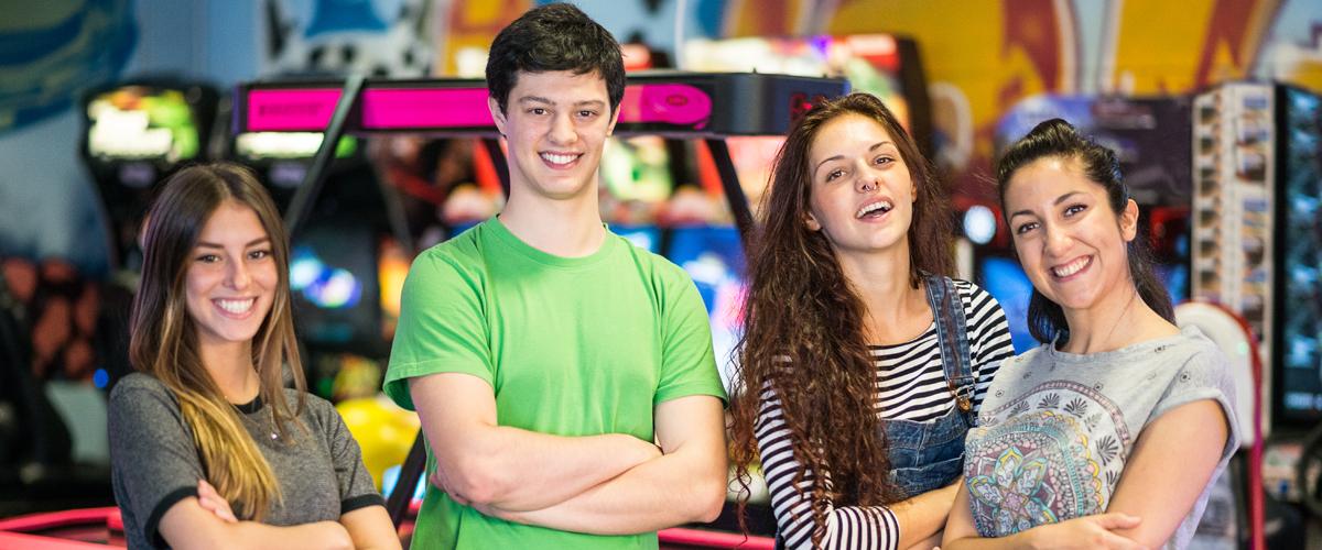 Teens in the arcade