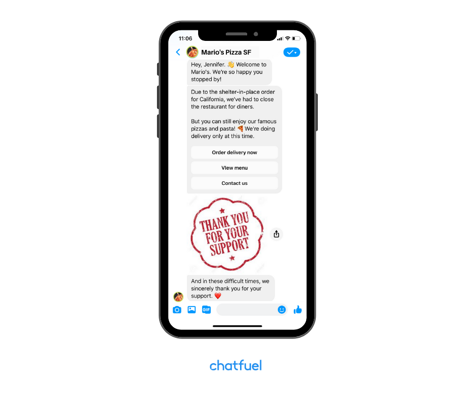 welcome message chatbot