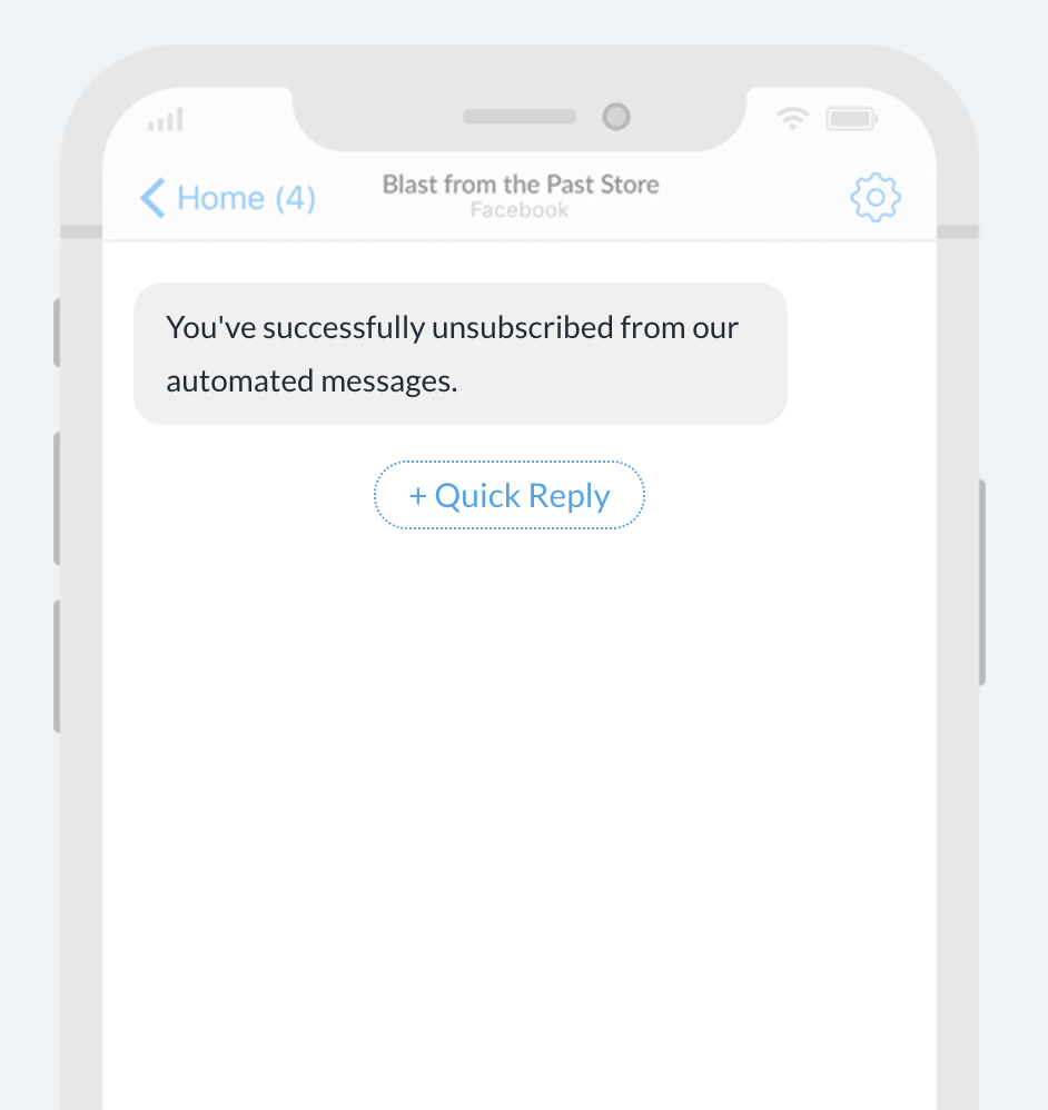 Mockup of an unsubscribe confirmation message in Recart