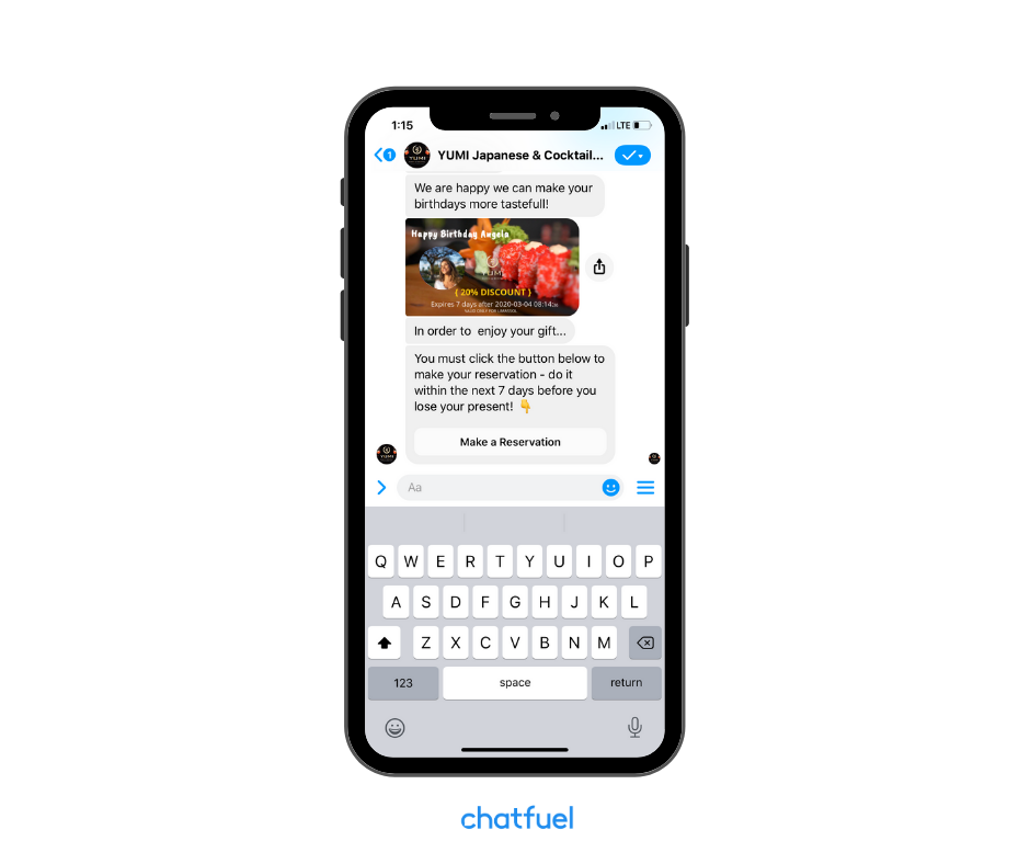Real restaurant chatbot powered by Chatfuel