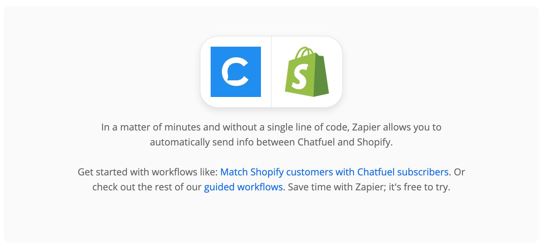 chatfuel shopify