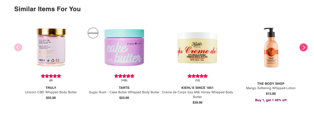 Product recommendations for the ecommerce products