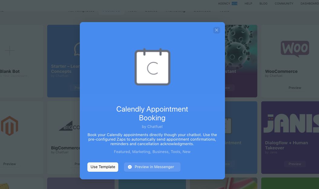 Calendly Appointment Booking chatbot template