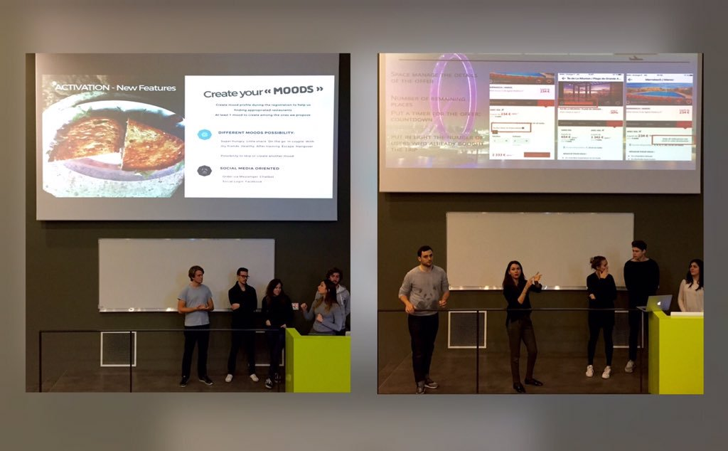 Students giving presentations
