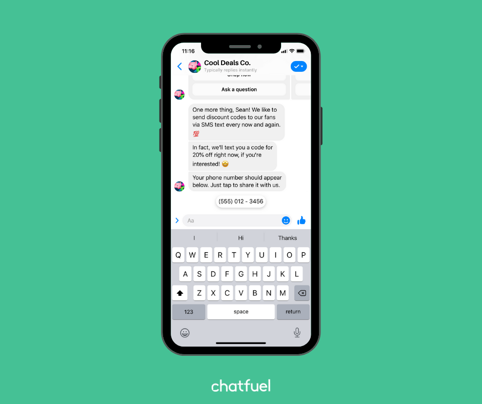 Gather user's phone number or email in your bot