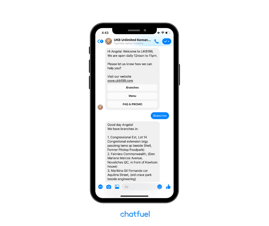 Restaurant chatbot powered by Chatfuel