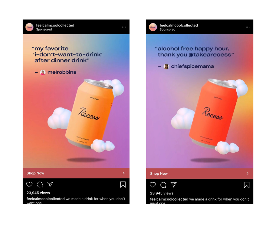 social proof in the form of mentions in their Instagram ads