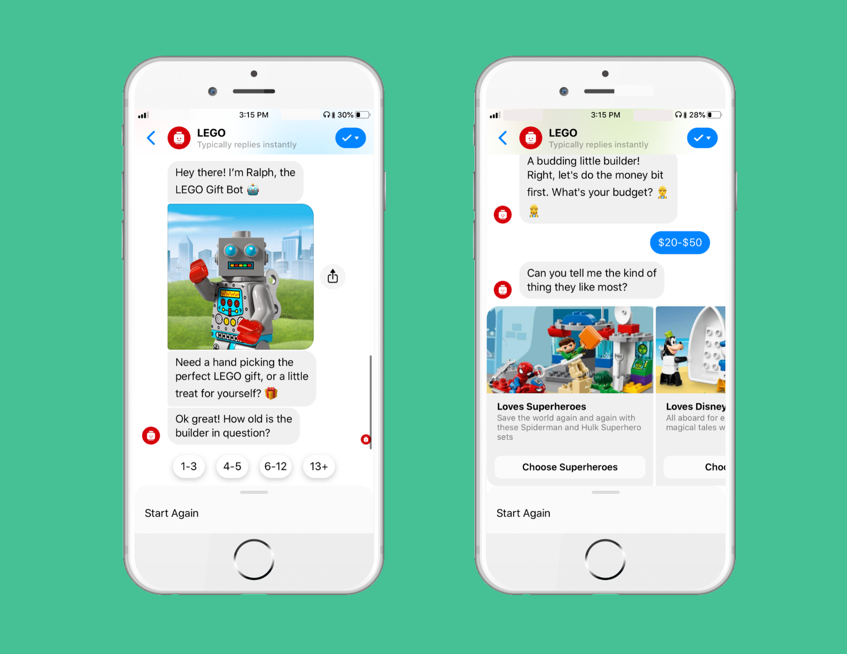Lego Messenger chatbot giving recommendations