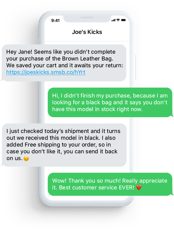 Conversational commerce with SMS