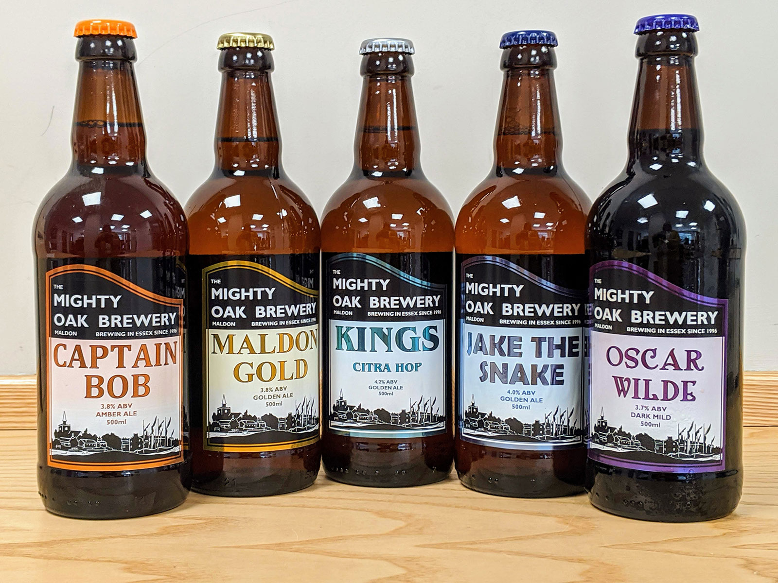 Mighty Oak Brewery beer range available at the Essex Produce Co. in Kelvedon, Essex.