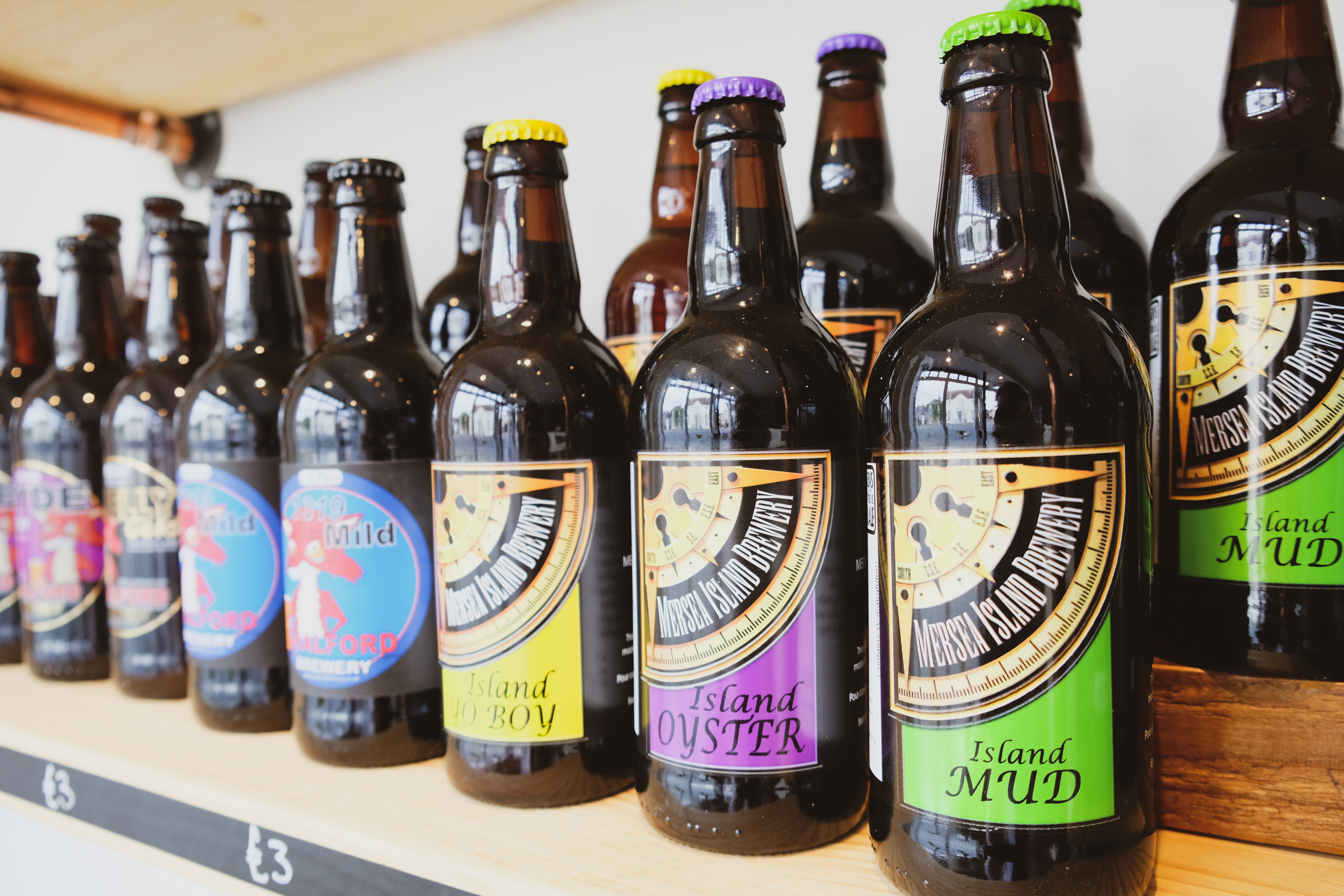 Mersea Island Brewery beer range available at the Essex Produce Co. in Kelvedon, Essex.