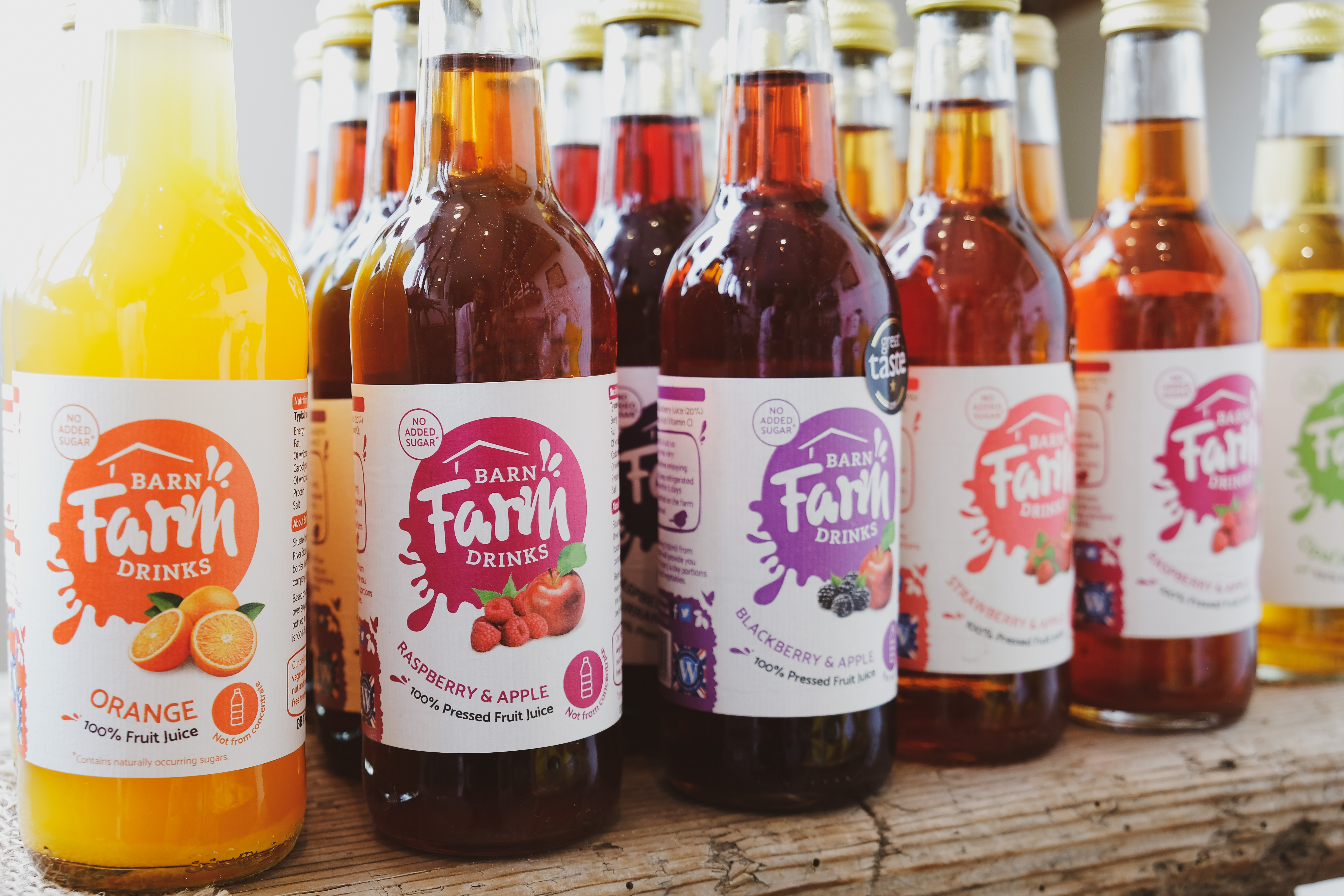 Barn Farm Drinks range available at the Essex Produce Co. in Kelvedon, Essex.