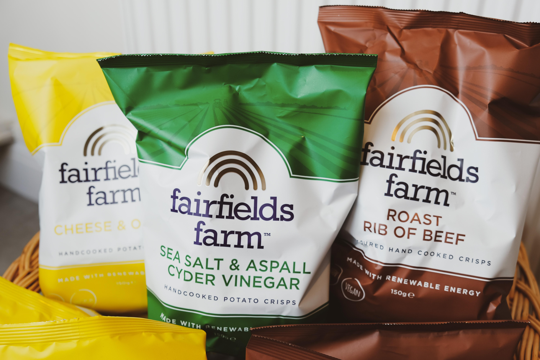 Fairfields farm crisps available at the Essex Produce Co. in Kelvedon, Essex.