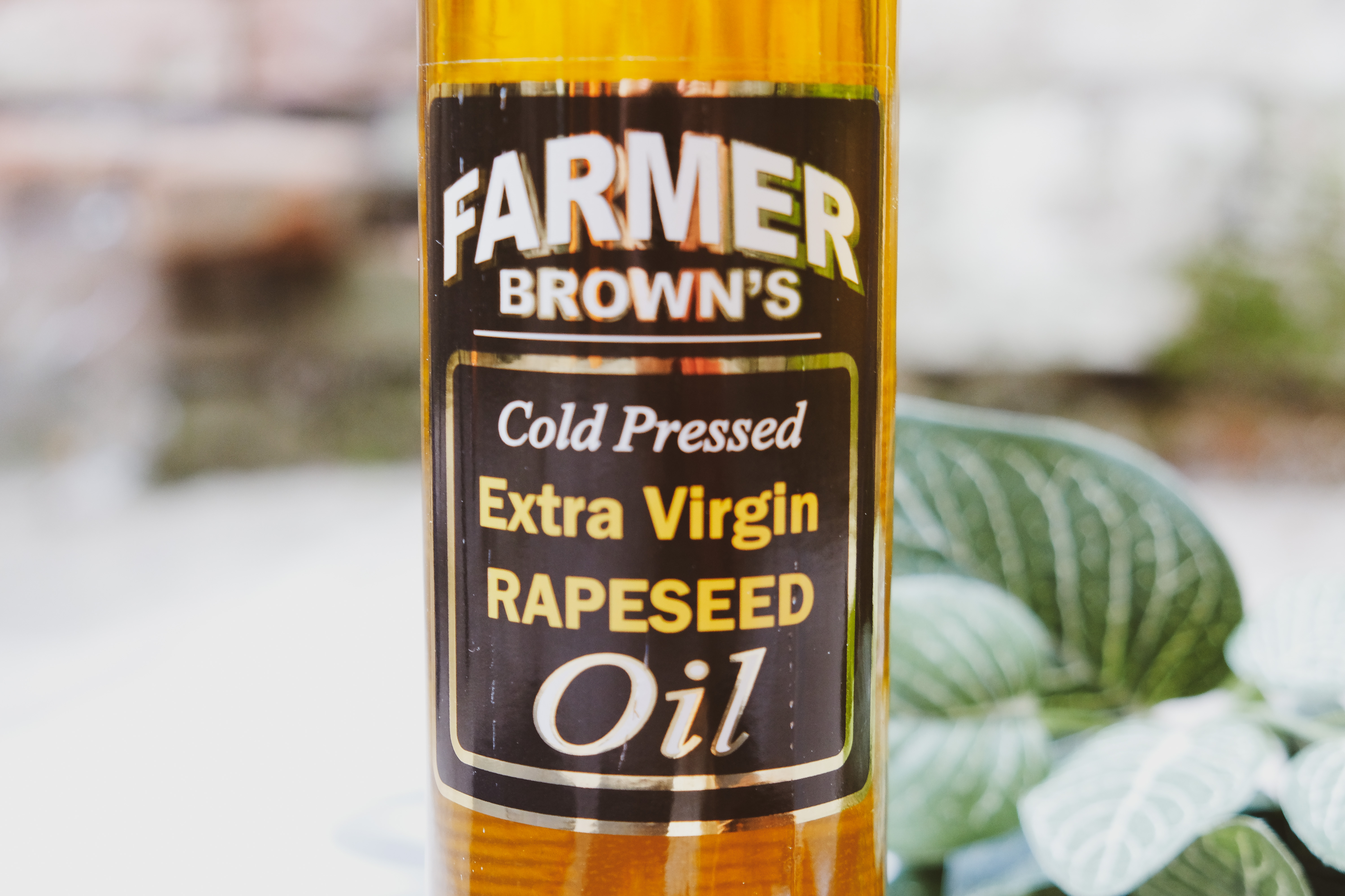 Farmer Brown's extra virgin rapeseed oil available at the Essex Produce Co. in Kelvedon, Essex.