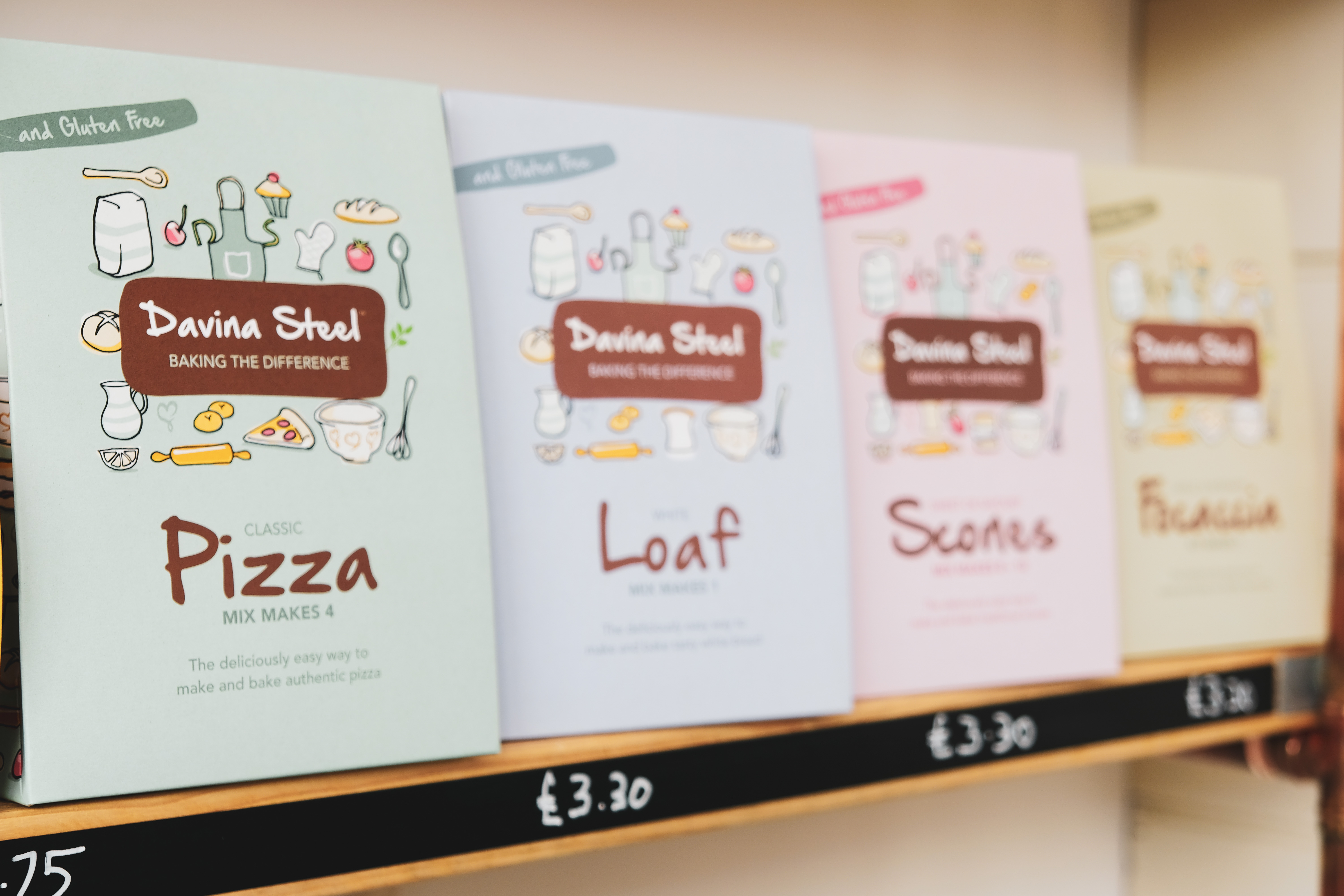 Davina Steel Bakery products available at the Essex Produce Co. in Kelvedon, Essex.