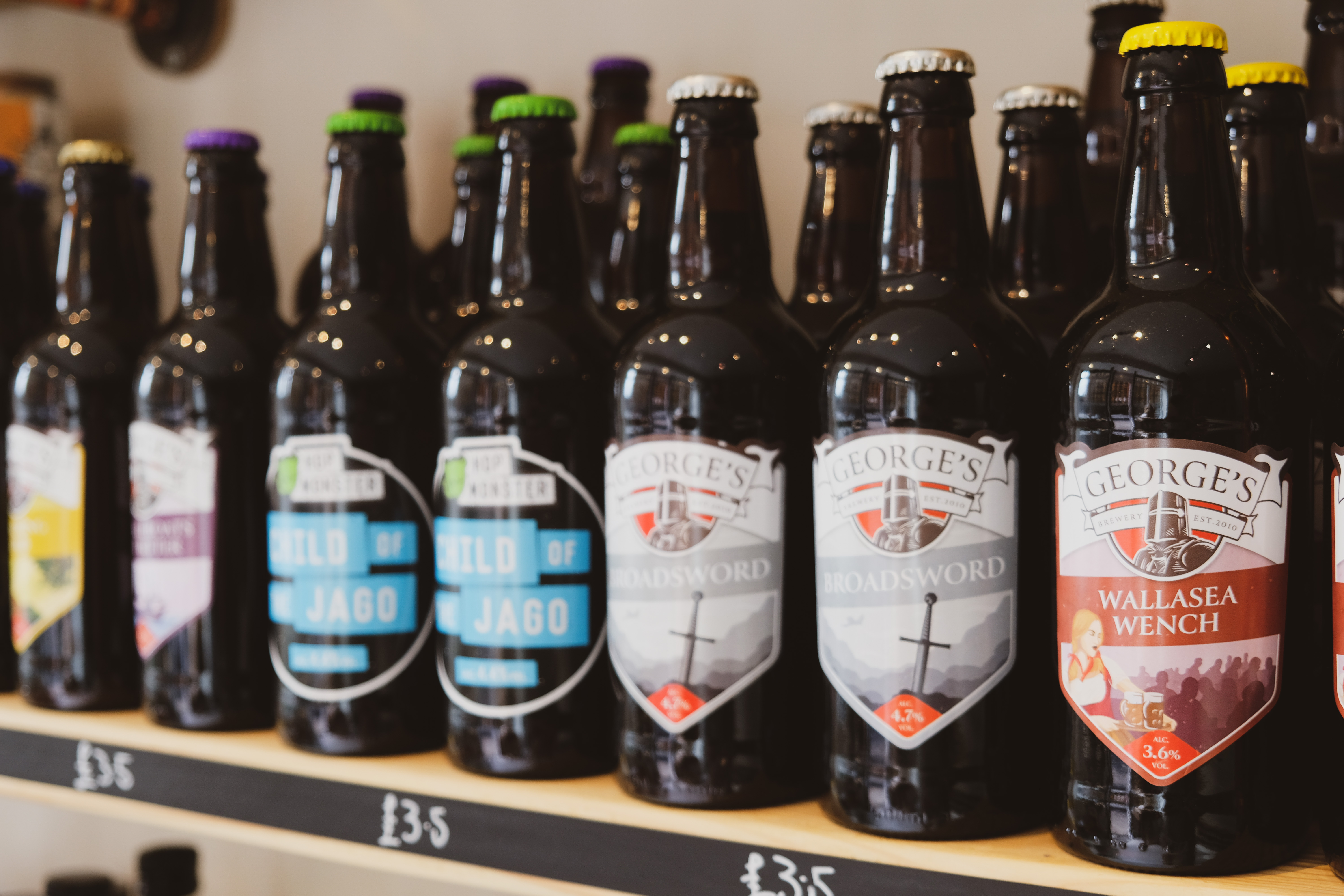 Essex Produce Co. Georges Brewery bottled beer selection in Kelvedon, Essex